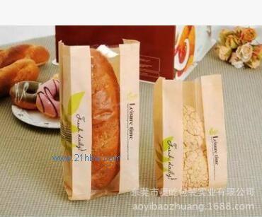 进口牛皮纸袋 开窗面包袋 6片烘培吐司袋 食品包装纸