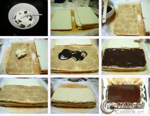 > 歌剧院蛋糕的做法   小诀窍:  烤箱的烤盘比较小,所以我用两层油纸