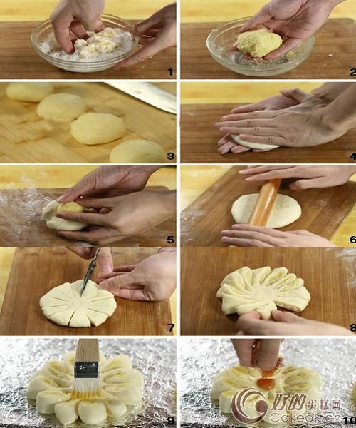 椰蓉花形面包的配方与制作