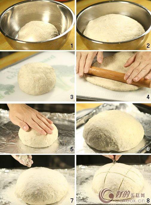 (全麦粗粮面包) 烘焙原料: (分量:1个) 配料:高筋面粉150克,全麦面粉100克,生燕麦片50克,水180克,橄榄油1大勺(15ML),糖10克,盐1 小勺(约5克),快速干酵母1小勺(约3克) 烘焙:中层,200度,烘焙35分钟,至表面金黄。 烘焙过程: 1、把所有干性材料混合均匀,倒入橄榄油和水,然后揉成团。把面团放在案板上,用力揉10分钟,使它的表面比较光滑即可。 2、把揉好的面团放在室温(26度)下发酵到体积变成原来的2.
