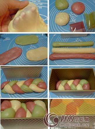 三色吐司面包的制作方法